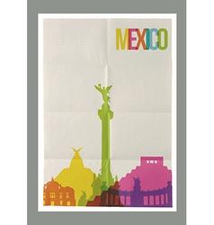 Travel Mexico landmarks skyline vintage poster vector image