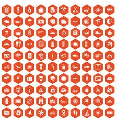 100 tourist trip icons hexagon orange vector