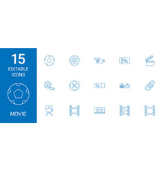 15 movie icons vector image
