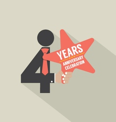 4th Years Anniversary Typography Design vector image