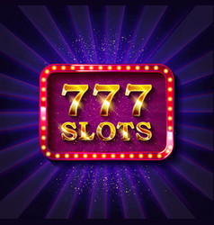 777 slots banner text vector