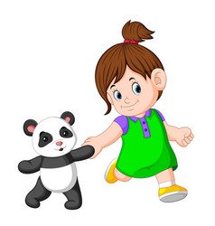 a girl likes to play with the panda dolls vector image