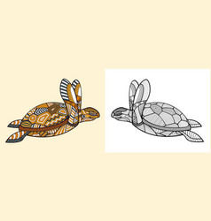 Abstract coloring book turtle design vector