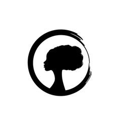 Afro hairstyles beauty woman logo hair salon vector