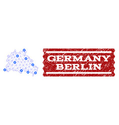 Air ticket collage of polygonal mesh map of berlin vector