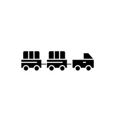 airoport baggage trailer black concept icon vector image