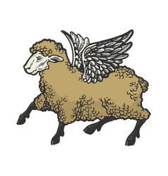 angel flying sheep color sketch engraving vector image