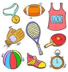 art of sport equipment doodles vector image
