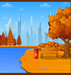 Autumn city park with bench and trash vector