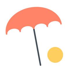 Beach umbrella with ball icon minimal pictogram vector