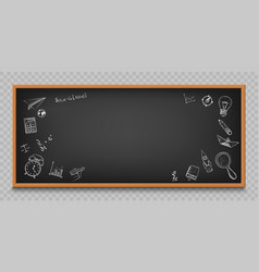 Blackboard with sketches and doodles vector
