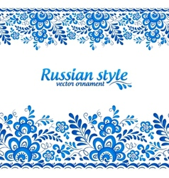 Blue floral borders in Russian gzhel style vector