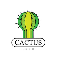 Cactus logo desert plant green badge vector