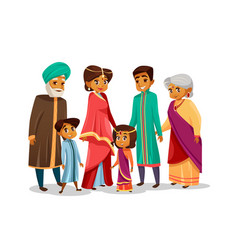 Cartoon indian family in national costume vector
