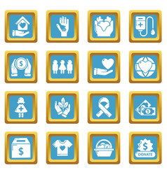charity icons set sapphirine square vector image