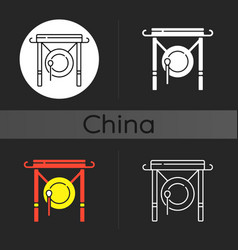 Chinese gong dark theme icon vector