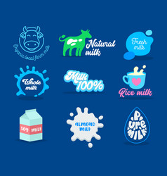 Collection dairy and milk product icons with vector