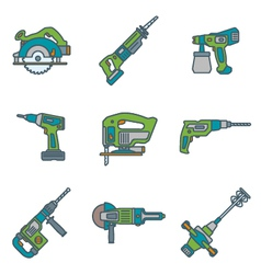 Color outline house remodel power tools icons vector
