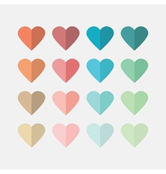 Colorful flat hearts icons set on gray background vector