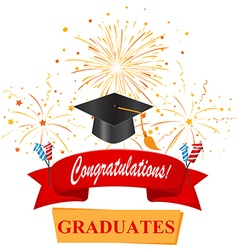 Congratulations with graduate cap vector