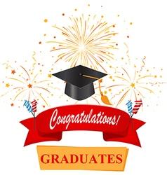congratulations with graduate cap vector image