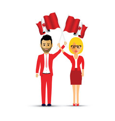couple waving canadian flags vector image