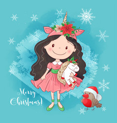 cute cartoon girl with a unicorn greeting card vector image
