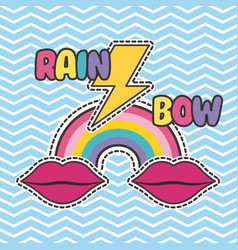 Cute patches badge mouth rainbow thunderbolt bow vector