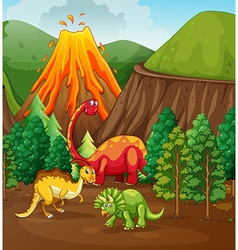 Dinosaur living in the forest vector image