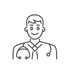 Doctor related thin line icon vector