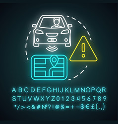 Driver assisted neon light concept icon car vector