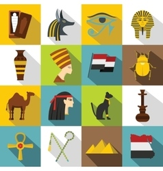 Egypt travel items icons set flat style vector
