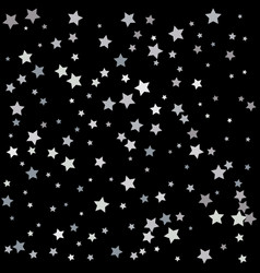 Festive flying silver stars shower vector
