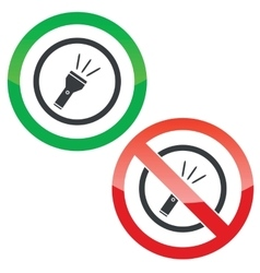 Flashlight permission signs vector