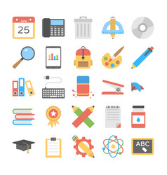 Flat design icons pack of office and stati vector