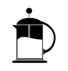 french press coffee maker pictogram vector image