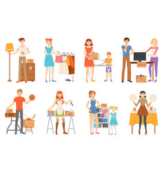 Garage sale and second hand staff selling goods vector