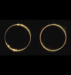 golden circle frame gold glitter light particles vector image