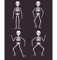 Halloween poster skeletons dancing banner vector