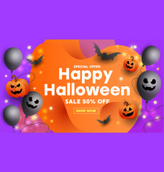 halloween sale template poster with scary face vector image