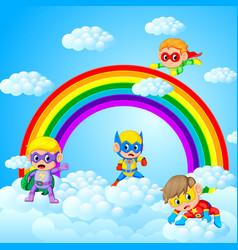 Happy kids playing superhero with sky scenery vector