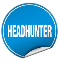 Headhunter round blue sticker isolated on white vector
