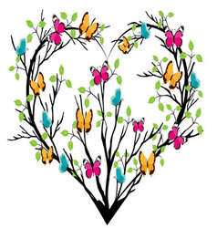 Heart tree with butterflies vector