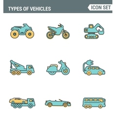 Icons line set premium quality of types vehicles vector image vector image