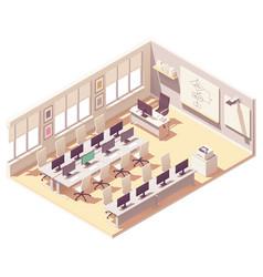 Isometric computer lab classroom vector