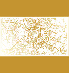 madrid spain city map in retro style in golden vector image