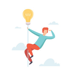 man flying light bulb searching for creative ideas vector image