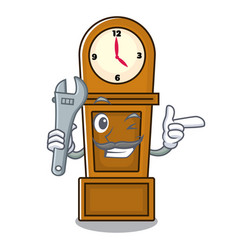 Mechanic grandfather clock mascot cartoon vector