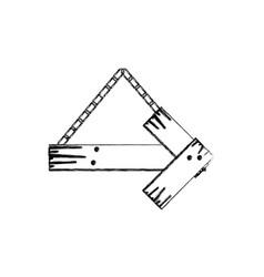 Monochrome contour of arrow piece wooden board vector