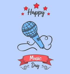 Music day celebration card style collection vector